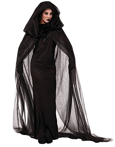 [Zando New Halloween Witch Costume Women's Long Dress Ghost Cape Cloak Beauty Hood Cosplay Costume Black] (Halloween Costumes Ideas For Guys With Beards)