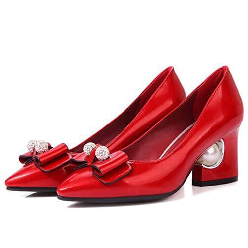 Toe Pink Women's Pump Heel Heels Polyurethane Pointed ZHZNVX Pink Red Block Basic Summer Spring Beige Shoes PU amp; OHddngTq