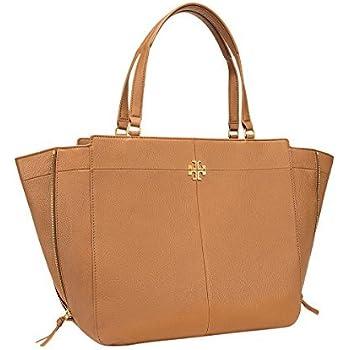 Amazon Com Tory Burch Ivy Side Zip Leather Tote Bag Bark
