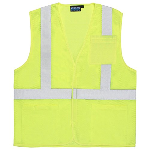 ERB 61630 S362P Class 2 Economy Mesh Safety Vest with Pockets, Lime, Large Class 3 Economy Vest
