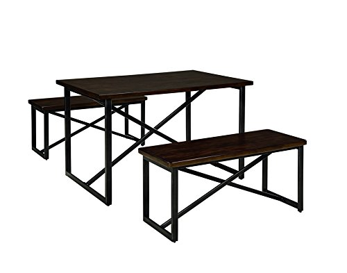Signature Design by Ashley D301-125 Joring Collection Dining Room Table and Benches, Set of 3, Dark Brown