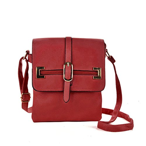 GLITZALL Women's Crossbody Messenger Bag for work Shoudle Bag Casuel Satchel Purse Red by GLITZALL
