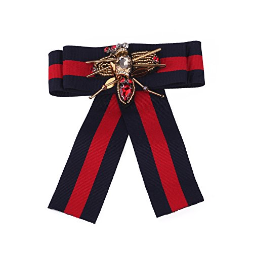 Beatfull Designer Rhinestone Pre-tied Ribbon Bow Tie for Men / Women, Bee Brooch Pin Collar Jewelry (blue(bee1))