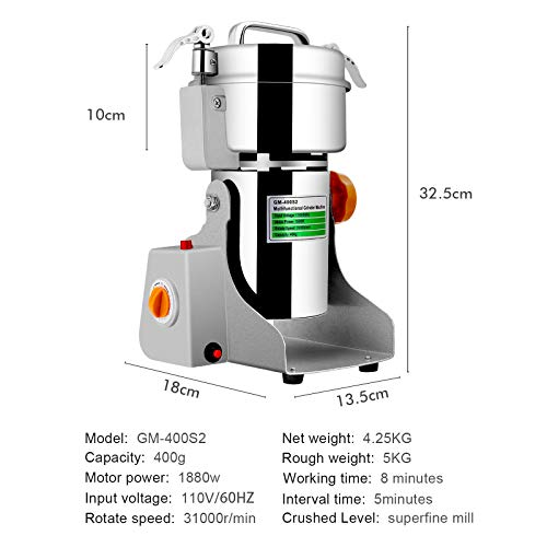Insir Grain Grinder Mill Stainless Steel Electric High-speed Family Medicial Powder Machine Commercial Cereals Grain Mill Herb Grinder,Pulverizer 110v Gift for Mom, Wife (400G) by Insir (Image #4)