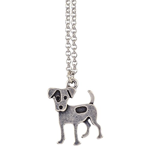 Jack Russell Necklace (In Your Dreams Jack Russell Necklace, Dainty Silver Plated Dog Pet Pendant)