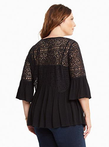 Gauze Lace Inset Bell Sleeve Top