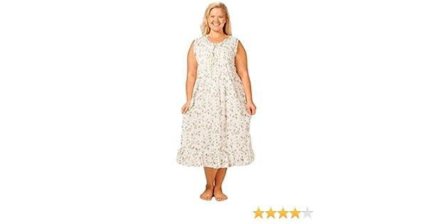 ba078c2987764 La Cera Women s Sleeveless Plus Size Nightgown 1X White Blooming Vines at  Amazon Women s Clothing store