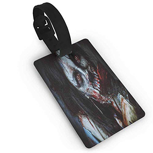Luggage Tags with Genuine Leather Strap,Zombie Decor,Scary Dead