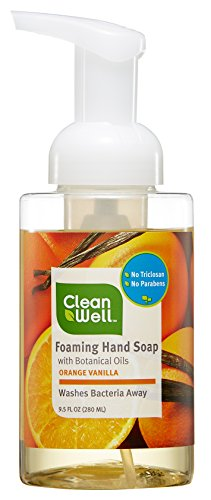 Vanilla Soap Orange - CleanWell Foaming Hand Soap with Botanical Oils - Orange Vanilla Scent, 9.5 Ounces (Pack of 4) - Alcohol-Free, Plant-Based, for All Skin Types, Kid Friendly, moisturizing, with Aloe