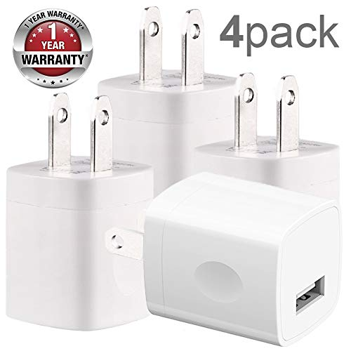 Cellphone Wall Charger, 4 Pack AC USB Charging Cube Brick Power Adapter Travel Plug Compatible with iPhone Xr Xs X Max 8 7 6 5 SE Pad Pro Mini Air ()