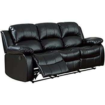 Homelegance 9700BLK-3PW Plushy Rolled Tufted Power Reclining Motion Bonded Leather Sofa Black  sc 1 st  Amazon.com & Amazon.com: Homelegance 9700BLK-3PW Plushy Rolled Tufted Power ... islam-shia.org
