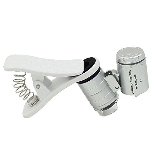 Skitic 60X Optical Zoom Universal Mobile Phone Tragbare Mini Clip UV LED Mikroskop Vergroesserungs Glas Lupe Micro-Objektiv