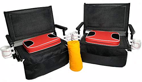 - 2-Pack. Big Daddy Super Heavy-Duty Stadium Seats Combo w/Two Baseball Theme Drink Holders-Bigger, Wider -A Bonus Blanket Included with Your Purchase-5 Years Warranty