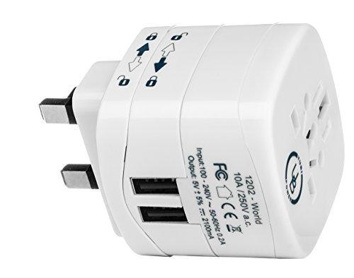 Yubi Power Universal Travel Plug Adapter with Dual USB Ports - Grounded Plug Type G for The United Kingdom, Bahrain, Cyprus, Ireland, Kenya, Singapore