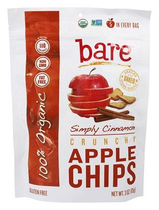 Bare Fruit - 100% Organic Crunchy Apple Chips Simply Cinnamon - 3 oz.Pack of 2