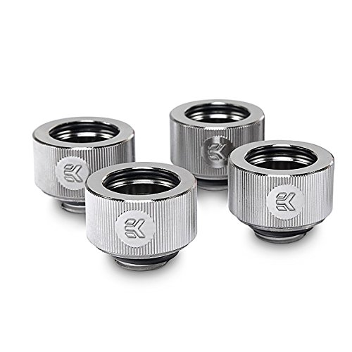 EKWB EK-HDC Compression Fitting for EK Rigid Tubing, 16mm OD, Nickel, 4-Pack