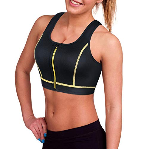 Paddling Suit (CtriLady Women's High Impact Neoprene Wetsuit Crop Tank Top Full Cup Sport Bra Vest for Surfing Snorkeling Swimming Paddling (Black Yellow Wetsuit top, Large))