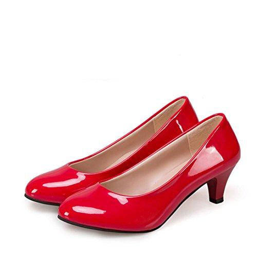 TPulling Herbst Und Winter Frühling Mode Damen Plateaustiefeln Niedrigen Schuhe Verfolgt Der Spitz Zulaufende Flache Mund Die Schuhe Mit Feinen Schuhen Lässige Schuhe Martin Stiefel Rot