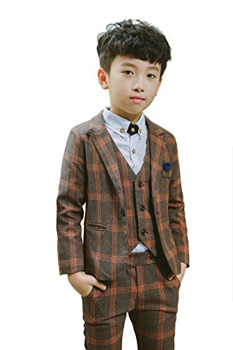 Boys Plaid Suits Formal Dress Blazer Vest Pants