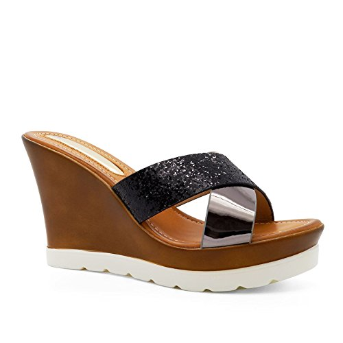 Footwear l'arrière London à femme Ouvertes Noir a6xxTw