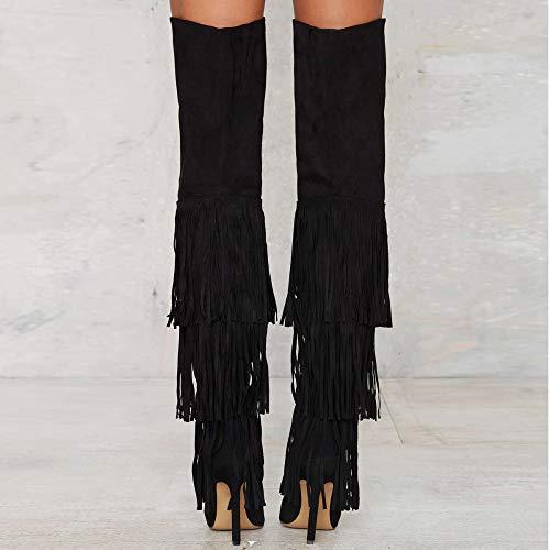 Oberschenkel Stiefel Große Stiefel GONGFF Hochhackigen Damen Kniestiefel Quaste Außenhandel Größe nzXxO8qPwx