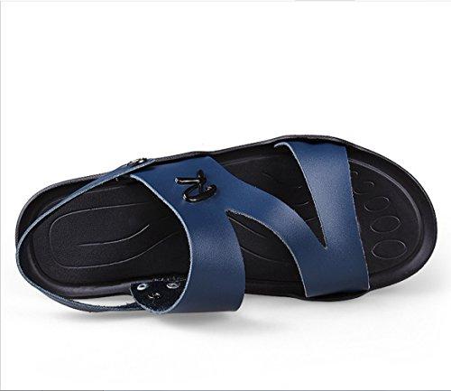 Schweißabsorbierend Bergsteigen Hausschuhe Atmungsaktiv Sandalen Schuhe Zwei Herren Outdoor Sandalen Wandern Tragen Ledersandalen Fahr Mode Casual Blau Sommer ZHANGM PZxnnwYEU