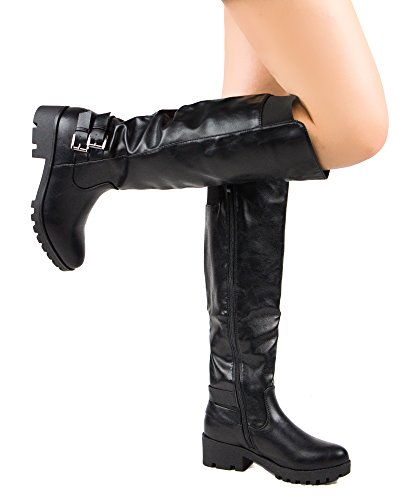 ROF Women's Fashion Comfy Vegan Leatherette Chunky Lug Heel Side Zipper Mid Calf Boots BLACK (8.5)
