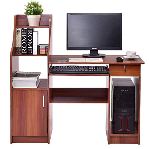 Tangkula Computer Desk Wood Frame Home Office Efficient Desk with Sliding Keyboard Tray Lockable Drawer Bookshelf Storage CPU Cabinet Laptop Notebook Workstastion Study Writing Student Table