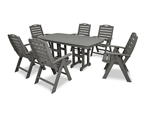 Trex Outdoor Furniture Yacht Club 7-Piece Highback Dining Set in Stepping Stone (Club Polywood)