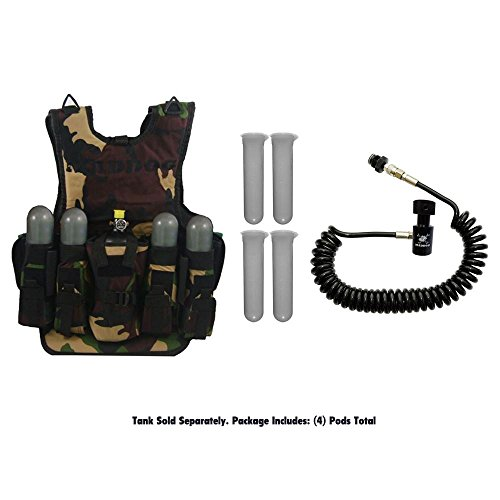 MAddog Tactical Camo Vest w/Pods & Standard Remote Coil Paintball Package Tank Harness Camo