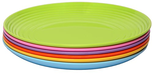 Melange 6-Piece  Melamine Dinner Plate Set (Solids Collection ) | Shatter-Proof and Chip-Resistant Melamine Dinner Plates | Color: Multicolor by Melange