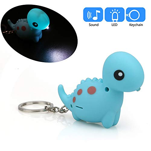 Gbell Dinosaur Flashlight Keychain Toys with LED Light and Roars Sound Keyfob,Kids Cute Dino Key Chain for Boys Girls Toddler School Bag,Battery Included,PVC,1 Pcs ()