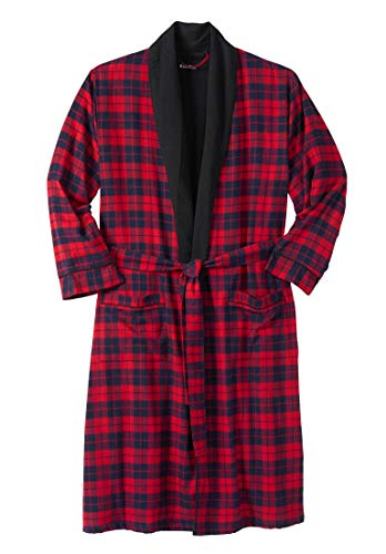 KingSize Men's Big & Tall Jersey-Lined Flannel Robe, Red Plaid - Red Flannel Robe