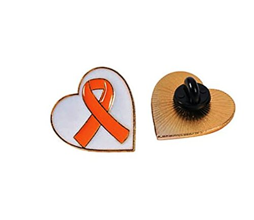 10 Orange Awareness Ribbon Heart Pins, SUPPORT KIDNEY, LEUKEMIA, MULTIPLE (Leukemia Ribbon)