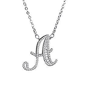 Uloveido A-Z Initial Letter White Gold Plated Necklace Pendant for Women Girls Kids Mom Friend with Cubic Zirconia Stone CZ Crystals NL025