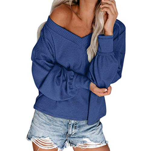 Women's Off Shoulder Waffle Knit Blouse Baggy Lantern Long Sleeve Tunic Tops Solid Color Fitting Warm Autumn Basic T Shirt