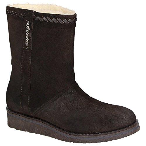 Napapijri Ingrid 0775600-046 Damen Leder-Winterboots Schneestiefel Teddyfutter Schuhe Dunkelbraun Dark Brown
