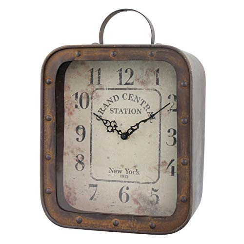 Stonebriar Large Square Rustic Metal Table Top Clock with Handle and Rivet Detail, Industrial Home Decor Accents for the…