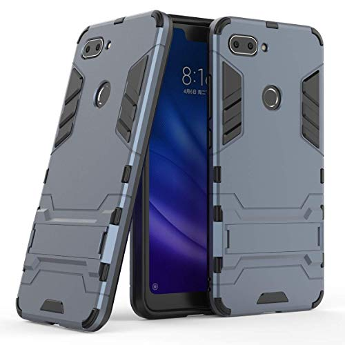 xiaomi mi 8 lite case,MYLBOO Dual Layer Rugged Hybrid [Hard Shockproof] Case with Kickstand for xiaomi mi 8 lite Cover [Compatible with Screen Protector] (Navy Blue)