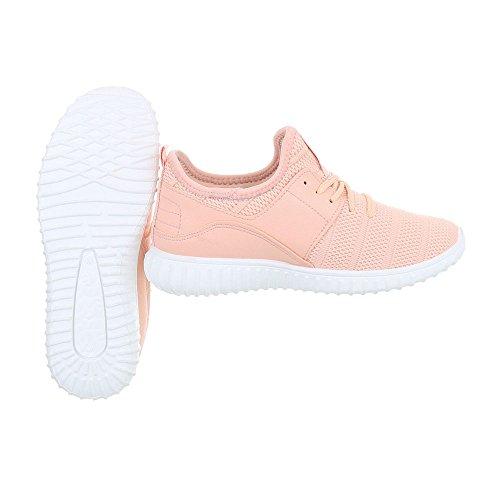 Ital-Design Sneakers Low Damenschuhe Sneakers Low Sneakers Schnürsenkel Freizeitschuhe Pink AN1031