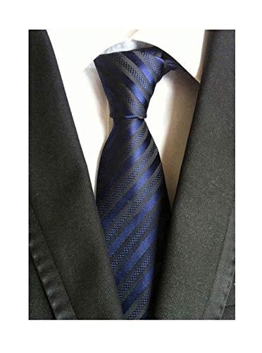 (Secdtie Men Stripe Navy Blue Black Jacquard Woven Silk Tie Formal Necktie TW015)