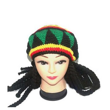 Jamaican Bob Marley Rasta Beanie Hat Fancy Cap weed reggae braids African Hair wraps Braiding Party (Makeup Halloween Hijab)