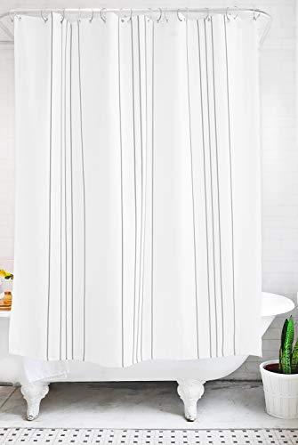Bathage Modern Stripe Waterproof Fabric Shower Curtain (Graphite)