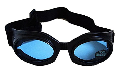 New Wave 80s Cyber Gothic Horror Goth Punk Industrial Raver Black Goggles (Blue - Raver 80s