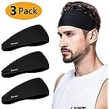 poshei Mens Headband, Mens Sweatband & Sports Headband for Running, Crossfit, Cycling, Yoga, Basketball - Stretchy Moisture Wicking Unisex Hairband