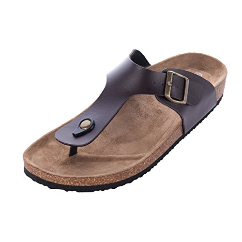 - WTW New Men's Style Sandals Gizeh Footbed Flat Sandal for Summer Suitable with Any Outfit (9 B(M) US, Brown)