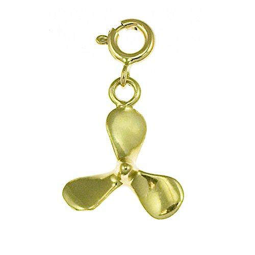 Jewels Obsession Propeller Pendant | 14K Yellow Gold Propeller Pendant - 23 mm