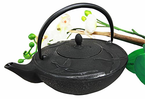 Japanese Black Cast Iron Three Asian Crane Design Tea Pot Tetsubin 24 fl oz Capacity -