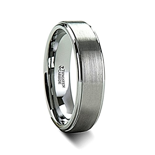 Thorsten Optimus Brush Finish Raised Center Polished Edge Tungsten Ring 6mm Wide Wedding Band with Custom Inside Engraved Personalized from Roy Rose Jewelry