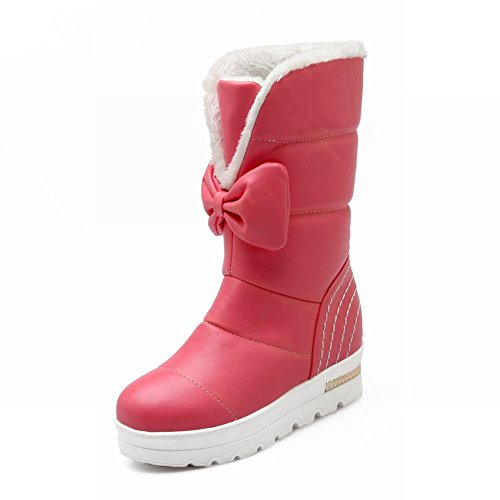 Carolbar Dames Strikjes Warm Koud Weer Mode Schattig Platform Verborgen Hak Snowboots Diep Roze